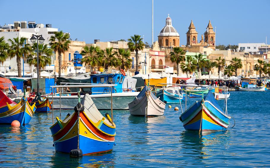 Malta's Marxaslokk harbor is dotted with traditionally painted boats called luzzu. Kaiserslautern Outdoor Recreation offers a trip to Malta for July 1-5.