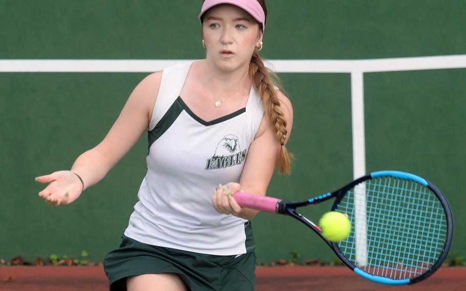 Robert D. Edgren's Jenna Mahoney stayed unbeaten this season by beating Matthew C. Perry's Julie Apperson and E.J. King's Moa Best on Saturday.