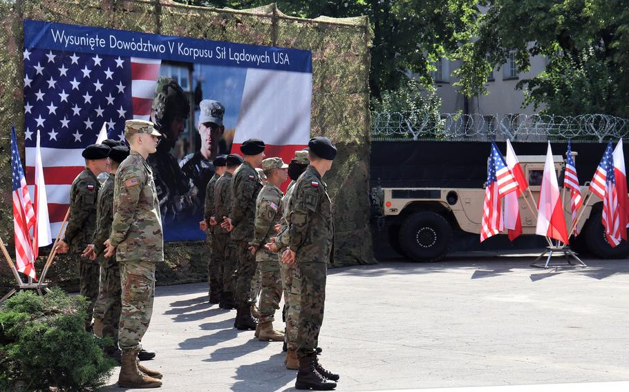 V Corps Forward marks its arrival in Poznan, Poland, with a ceremony on July 15, 2021. Plans are in the works for construction of a new $30 million U.S. Army command hub as well as a $7 million information systems facility in Poznan.
