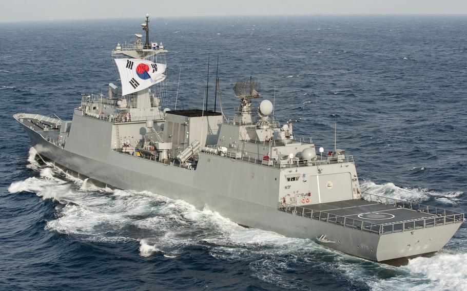The South Korean destroyer Munmu the Great steams through the East China Sea in June 2012.