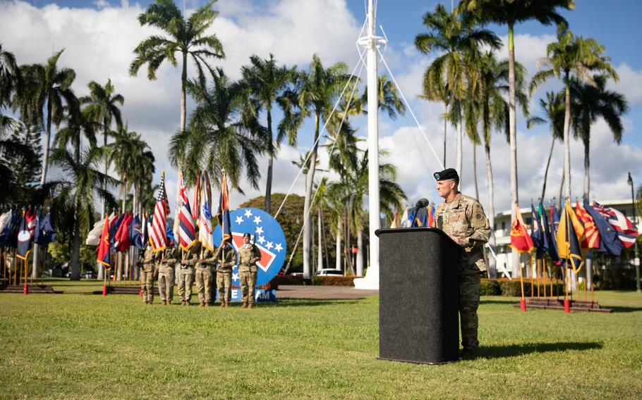 U.S. Army Gen. Charles A. Flynn, incoming commanding general of U.S. Army Pacific, gives remarks during the USARPAC change of command ceremony June 4, 2021, at Fort Shafter, Hawaii.