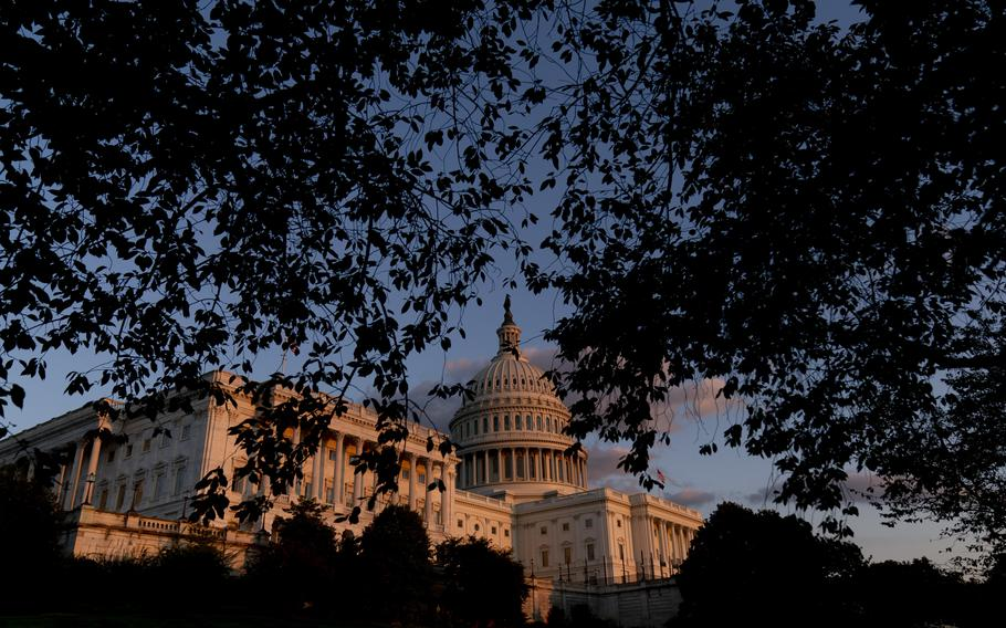 The U.S Capitol at sunset in Washington, on Sept. 30, 2021. Year-end pileups of crucial legislation and the brinkmanship that goes with it are annual rituals for Congress. But this time, testy lawmakers are barreling toward an autumn of battles that are striking for the risks they pose to both parties and their leaders.