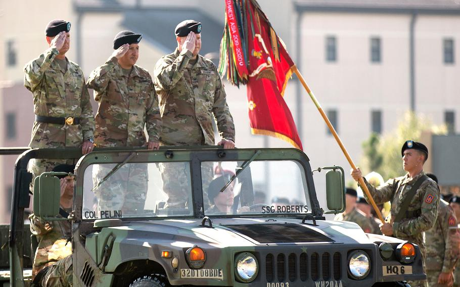 The 108th Air Defense Artillery Brigade said goodbye to outgoing commander Col. Chuck Matallana and welcomed incoming commander Col. Marc Pelini during a ceremony at Fort Bragg, N.C., on Tuesday, July 20, 2021.