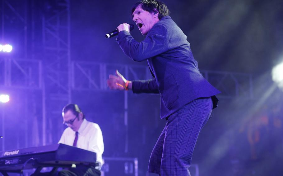 Russell Mael of the band Sparks with brother Ron, left, perform at the Empire Polo Grounds in Indio, California, during Coachella Music & Arts Festival on April 12, 2013.