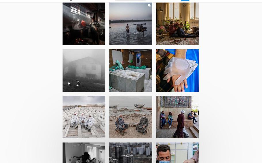 A screen grab captures a gallery of images on the Instagram account, everydayiran.