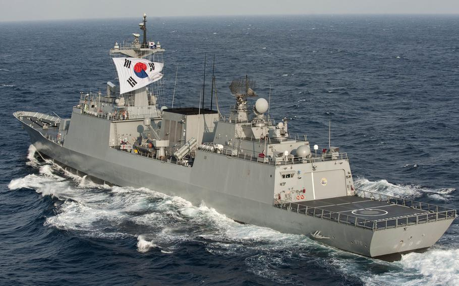 The South Korean navy destroyer Munmu the Great steams in the East China Sea, June 12, 2012.