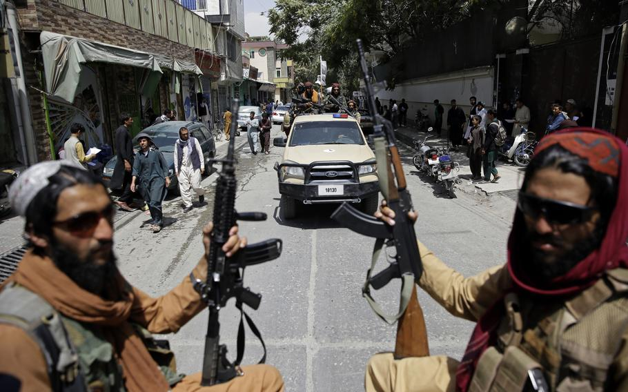 Taliban fighters patrol Kabul, Afghanistan, on Aug. 19, 2021. The Taliban celebrated Afghanistan's Independence Day by declaring they beat the United States, but challenges to their rule ranging from running a country severely short on cash and bureaucrats to potentially facing an armed opposition began to emerge.