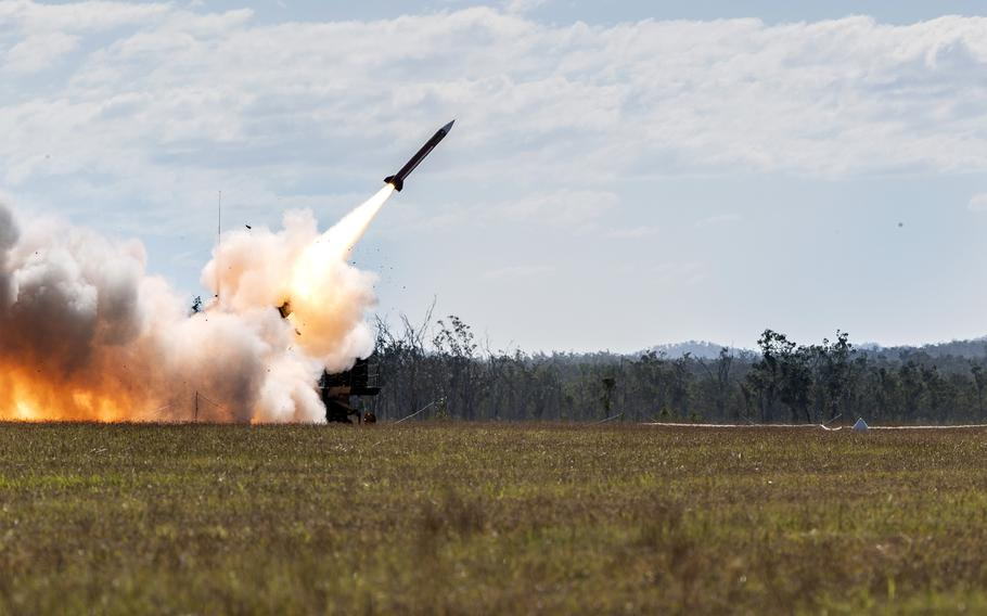 A U.S Army MIM-104 Patriot surface-to-air missile is fired from Australia for the first time ever, Friday, July 16, 2021. The missile was launched from Shoalwater Bay Training Area, Queensland, during the Talisman Sabre exercise.