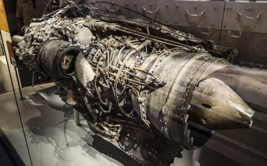 """An engine recovered from the remains of Super 6-1, the call sign for the first UH-60 Black Hawk Helicopter shot down during what became known as the Battle of Mogadishu in Somalia (popularly referred to as """"Black Hawk Down""""), at the National Museum of the United States Army on its reopening day, June 14, 2021."""