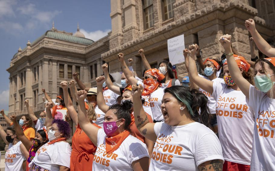 Women protest against Texas's six-week abortion ban at the Capitol in Austin, Texas, on Sept. 1, 2021.