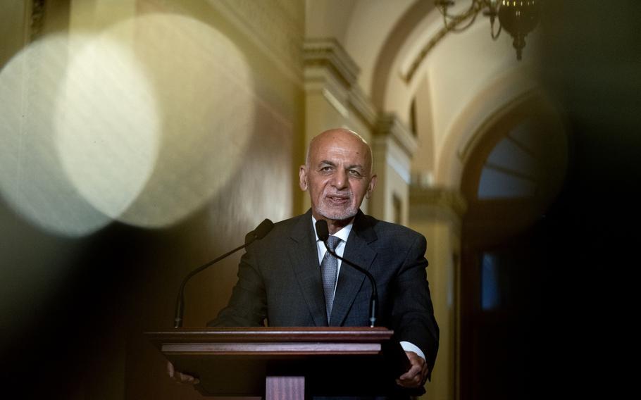 Ashraf Ghani, Afghanistan's president, speaks during a meeting with U.S. House Speaker Nancy Pelosi, D-Calif., at the U.S. Capitol in Washington, D.C., on June 25, 2021.