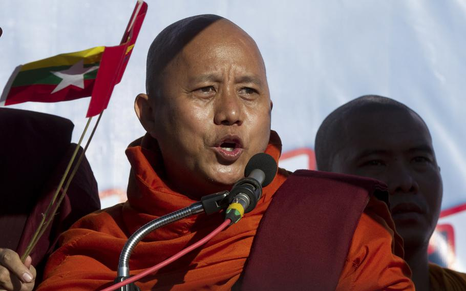 Buddhist monk and anti-Muslim community leader Wirathu speaks during a pro-military rally in front of city hall in Yangon, Myanmar, on Oct. 14, 2018. Wirathu was freed from prison on Monday, Sept. 6, 2021, after charges that he tried to stir up disaffection against Myanmar's previous civilian government were dropped.