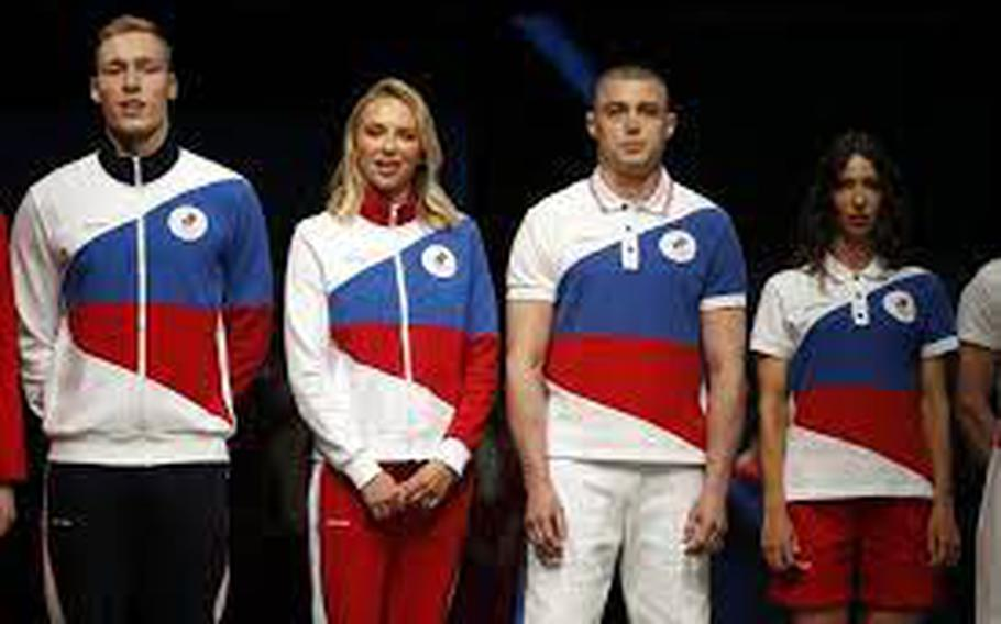 Russian athletes will wear uniforms with bold white, blue and red diagonal bands.