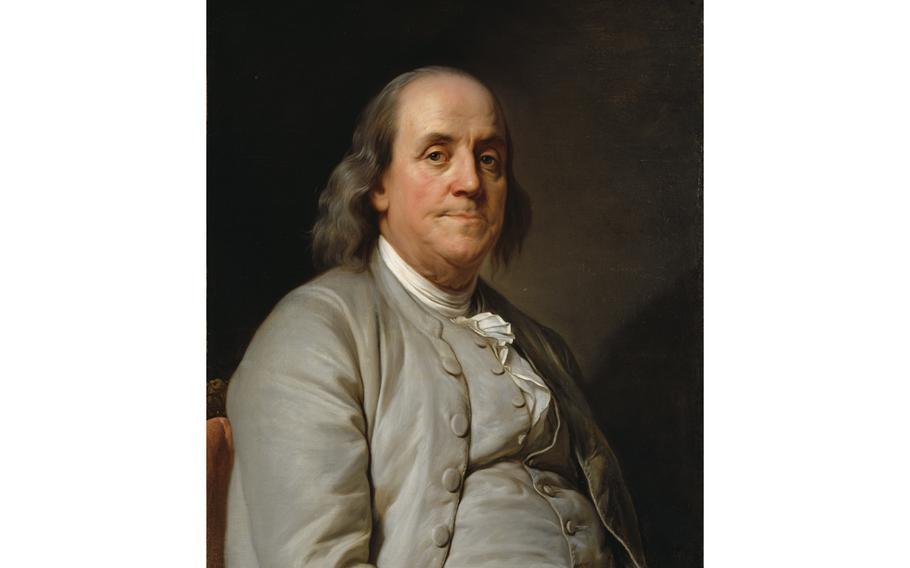 Artist Joseph Duplessis' 1778 painting of Benjamin Franklin.
