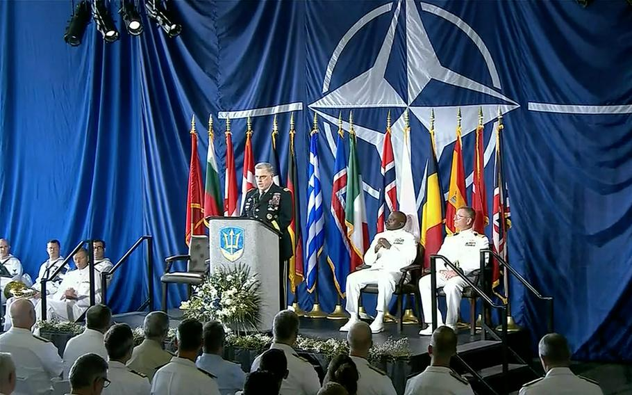 In a screenshot from a Defense Department live feed, Army Gen. Mark A. Milley, chairman of the Joint Chiefs of Staff, speaks aboard the USS Kearsarge during a ceremony marking NATO's Joint Force Command Norfolk fully operational, July 15, 2021.