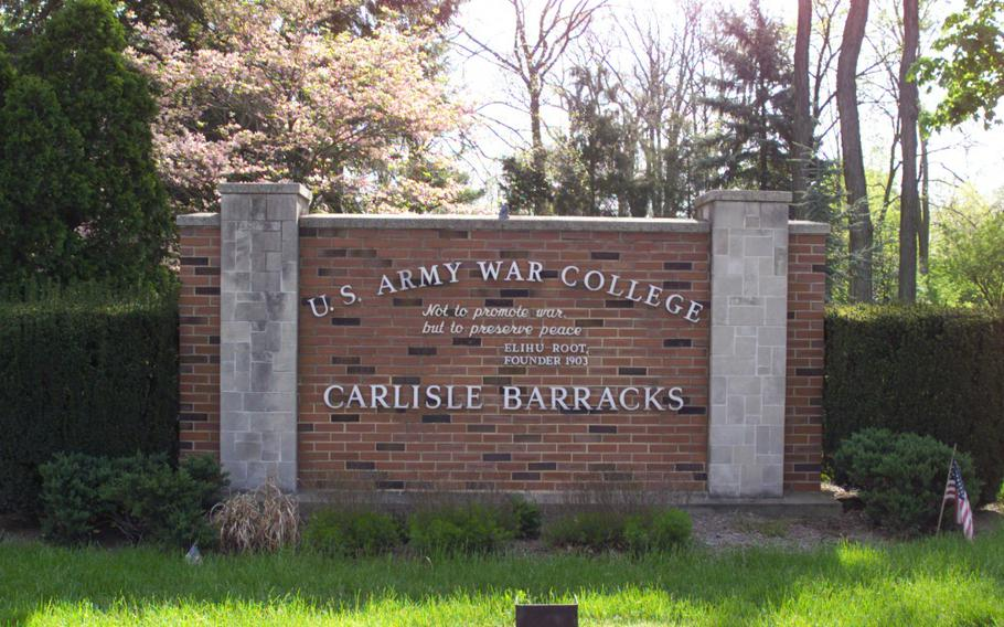 The main entrance sign to Carlisle Barracks and the U.S. Army War College.