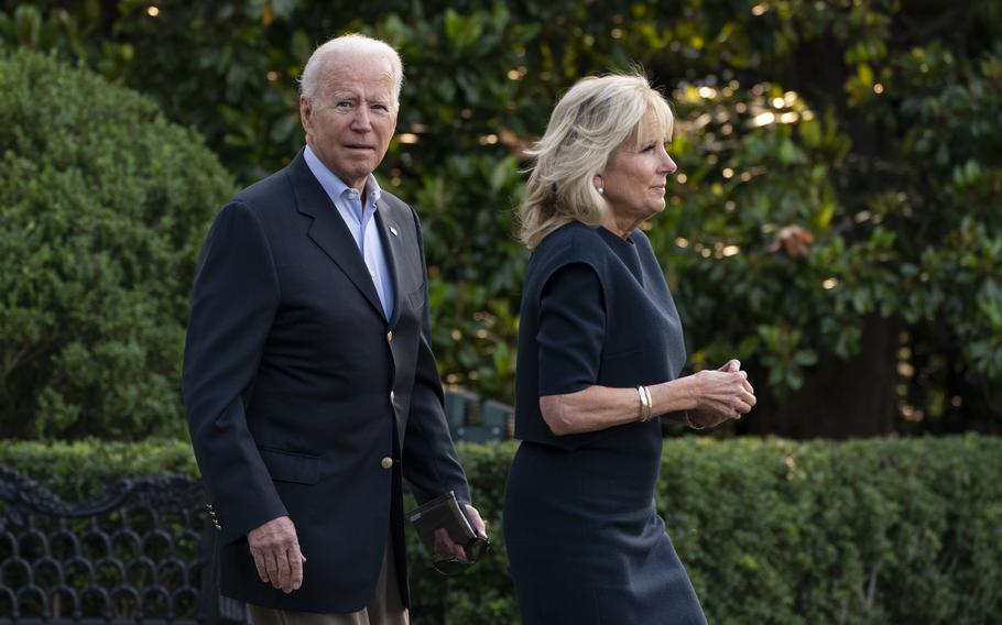 President Joe Biden and first lady Jill Biden walk on the South Lawn at the White House in Washington, Thursday, July 1, 2021, to board Marine One.