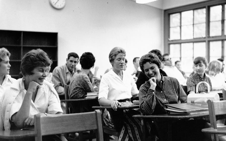 American students at Seoul High School take time out for a laugh Aug. 29, 1960.