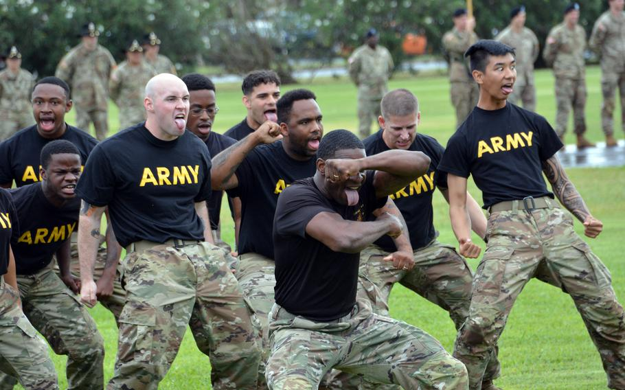 Soldiers of the 25th Infantry Division perform the Hui Ha'a Koa, a traditional Hawaiian warriors dance, during a change-of-command ceremony at Schofield Barracks, Hawaii, Friday, July 23, 2021.