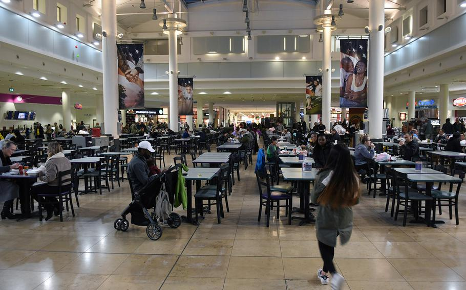 The food court at the Kaiserslautern Military Community Center on Ramstein Air Base, Germany, in 2017. Following the 9/11 attacks, the U.S. military invested heavily in improving on-post amenities in Europe, which resulted in on-base mini-Americas.
