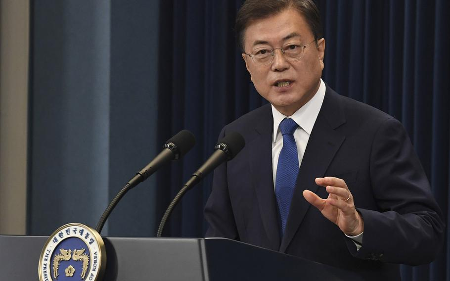 South Korean President Moon Jae-in speaks at the presidential Blue House on May 10, 2020, in Seoul, South Korea. (Kim Min-Hee/Pool/Getty Images/TNS)