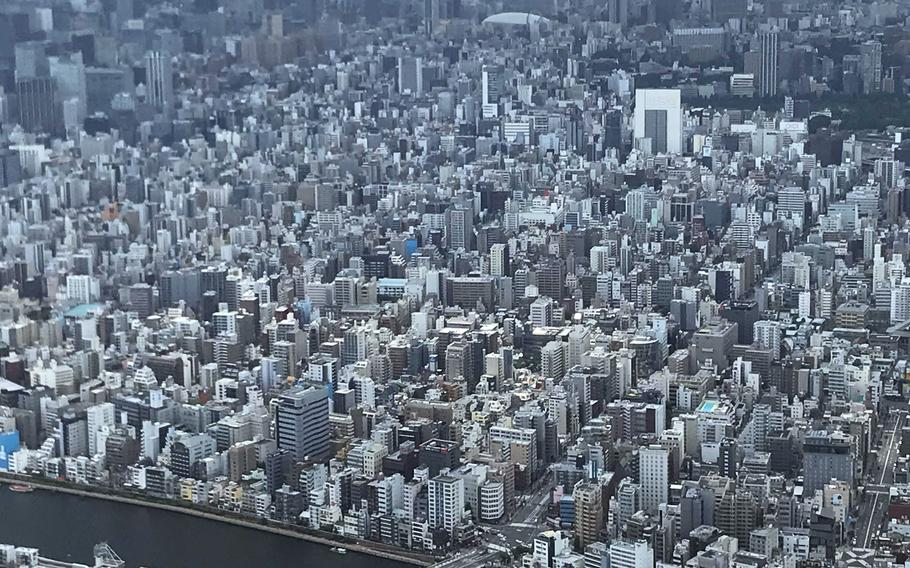 A view from Floor 340 of the Tokyo Skytree on June 17, 2021.