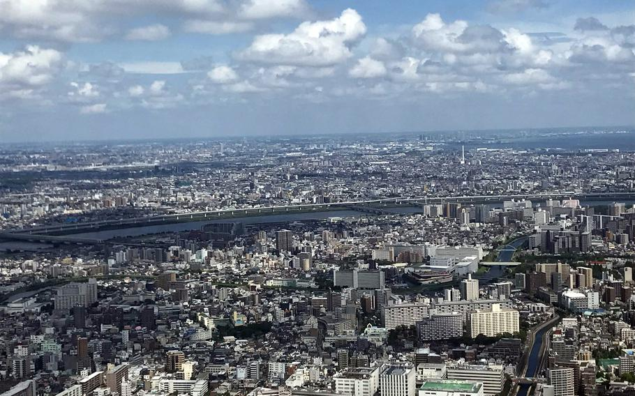A view from Floor 450 of the Tokyo Skytree on June 17, 2021.