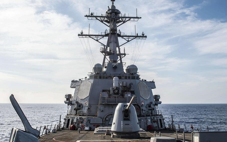 The guided-missile destroyer USS Arleigh Burke (DDG 51) transits the Mediterranean Sea on Oct. 7, 2018.