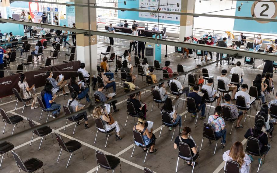 A vaccination center set up at the Central Eastville shopping center in Bangkok.