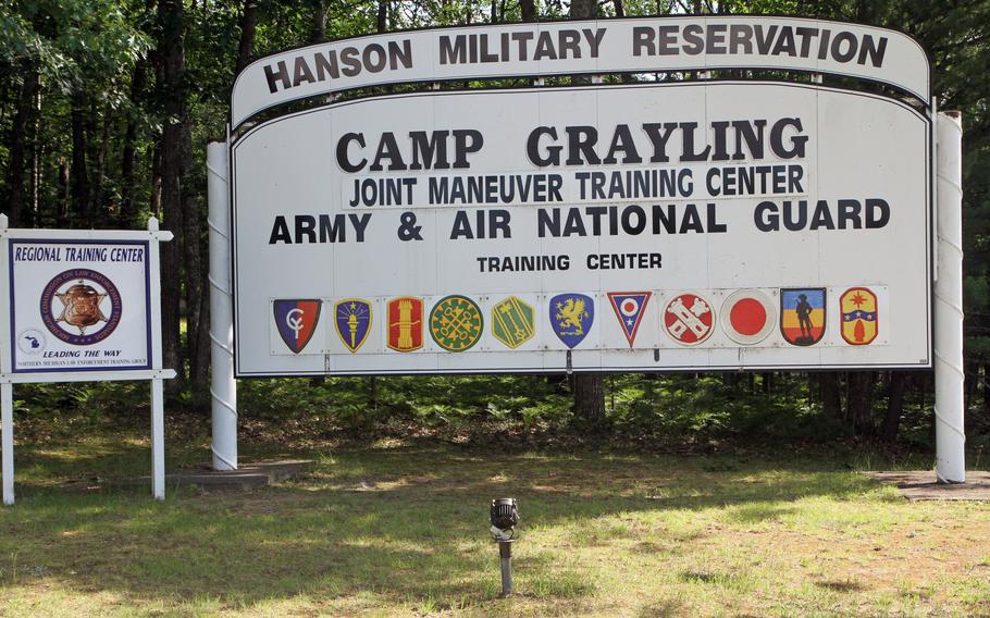 The welcome sign at Camp Grayling Joint Maneuver Training Center, Mich., in July 2014. State and military officials said they found toxic PFAS chemicals in stormwater runoff from Camp Grayling that spills directly into Crawford County's Lake Margrethe.