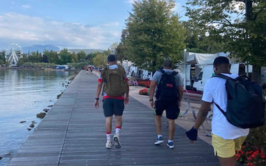 About 350 173rd Airborne Brigade paratroopers took part in an annual  12-hour, 40-mile hike along Lake Garda on Sept. 2, 2021, that  memorializes Brig. Gen. William Darby, killed  in April 1945, by a  German Wehrmacht artillery shell. One  paratrooper, a sergeant, completed the 40 miles  in 8 hours.