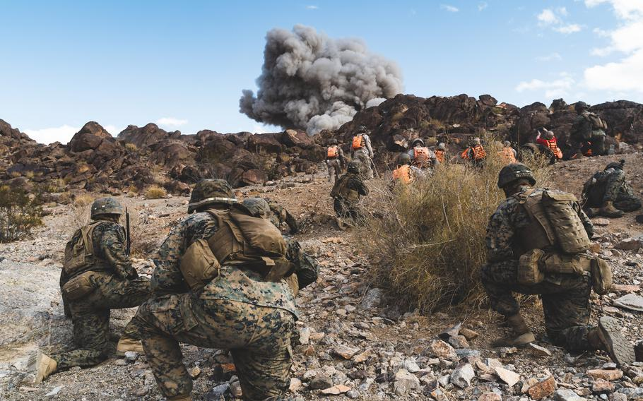 U.S. Marines detonate obstacle-breaching Bangalore torpedoes during an exercise at Twentynine Palms, Calif., in November 2019. Nearly six months after they went missing from Twentynine Palms, several pounds of C4 explosives have been recovered, an officials said, but no suspects have been arrested.