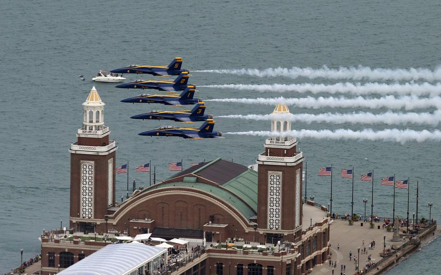 The U.S. Navy Blue Angels perform a practice run for the 2019 Chicago Air and Water Show along the Chicago lakefront on Friday, Aug. 16, 2019.
