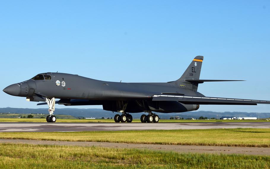 A B-1B Lancer assigned to the 37th Bomb Squadron taxis on the flightline at Ellsworth Air Force Base, S.D., July 16, 2020.