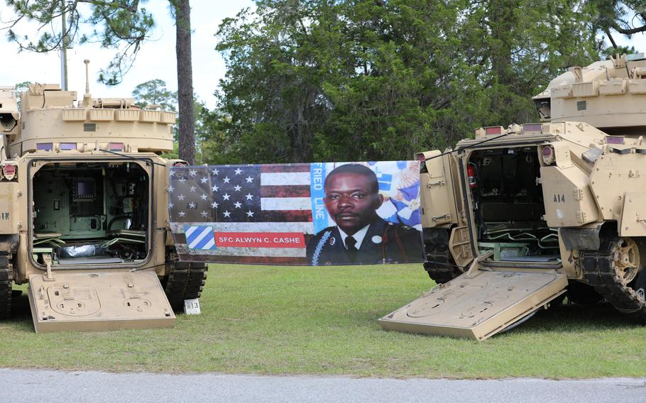 Sgt. 1st Class Alwyn Cashe's name now graces the primary ceremonial grounds at Fort Stewart, Ga., which were renamed Thursday in honor of the fallen Iraq War hero by 3rd Infantry Division officials as they await word on a proposal to award the Medal of Honor to the soldier.