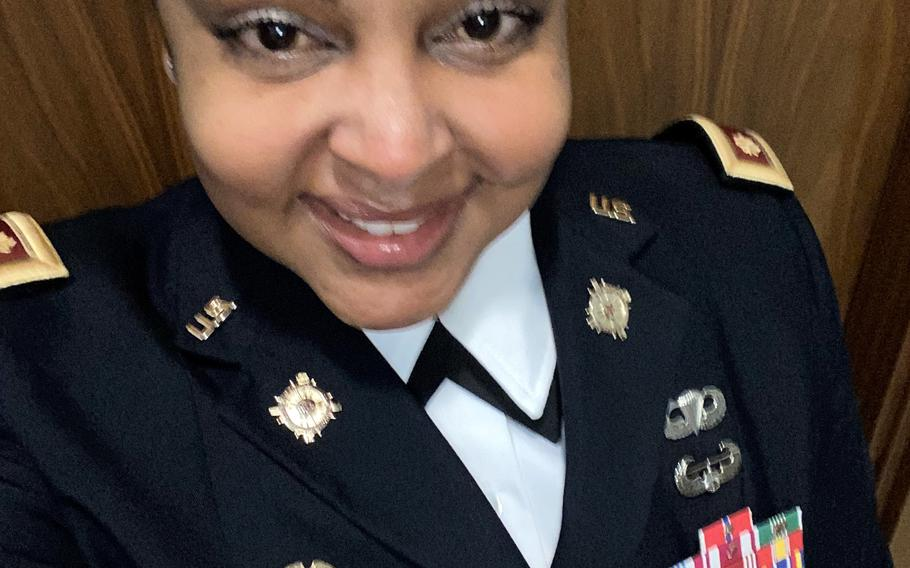 Maj. Tiffaney Mohammed says she was subjected to racial insults while serving as the executive officer of an Army battalion based in Grafenwoehr, Germany. The Army in Europe is investigating the allegations.