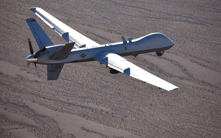 An MQ-9 Reaper flies a training mission over the Nevada Test and Training Range in 2019. A catastrophic fuel leak in a Reaper forced the crew controlling the drone to crash and destroy it last year, somewhere in U.S. Africa Command's area of responsibility.