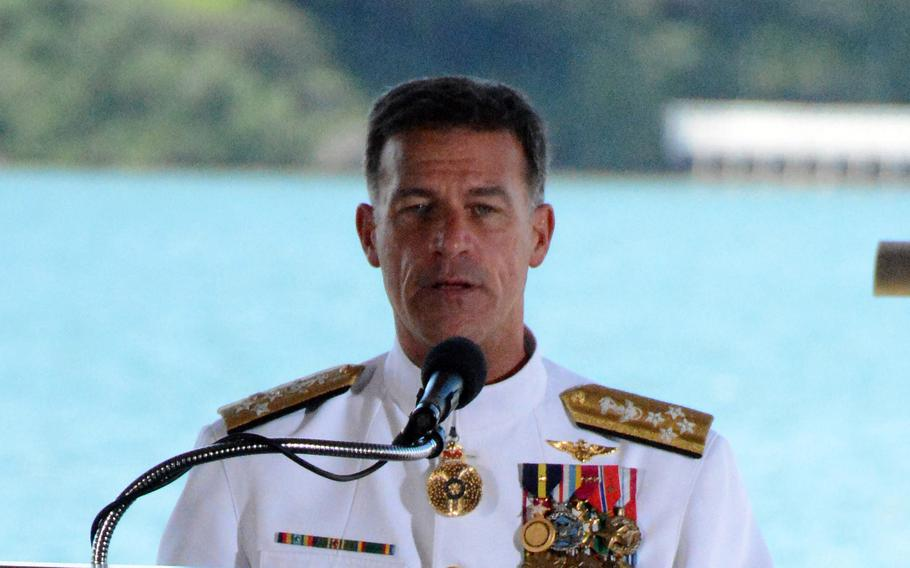 Adm. John Aquilino speaks after taking the reins of U.S. Indo-Pacific Command at Joint Base Pearl Harbor-Hickam, Hawaii, Friday, April 30, 2021.
