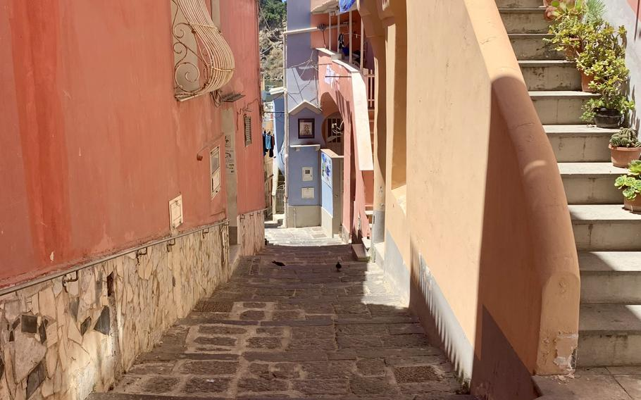 Colorful buildings line the streets in Procida, Italy.
