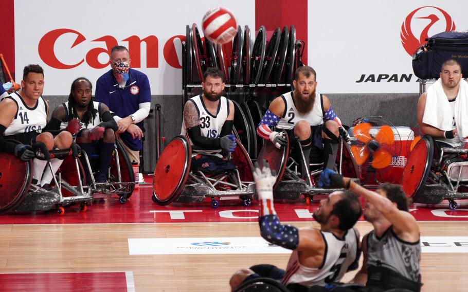 The United States takes on New Zealand in a Paralympics wheelchair rugby match at Yoyogi National Stadium in Tokyo, Wednesday, Aug. 25, 2021.