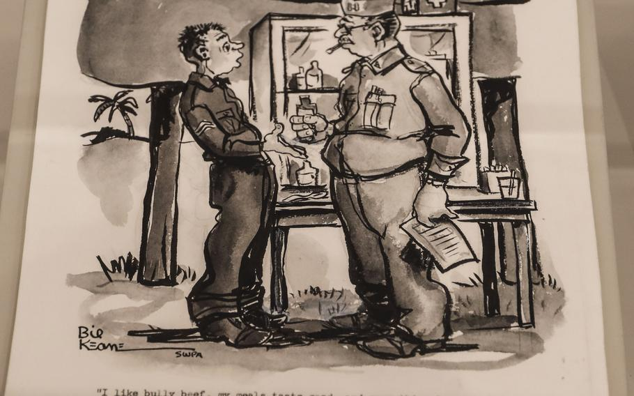 """A cartoon by """"Family Circus"""" artist Bil Keane in the Art of Soldiering Gallery at the National Museum of the United States Army. Keane drew for Yank magazine and Stars and Stripes in the 1940s."""