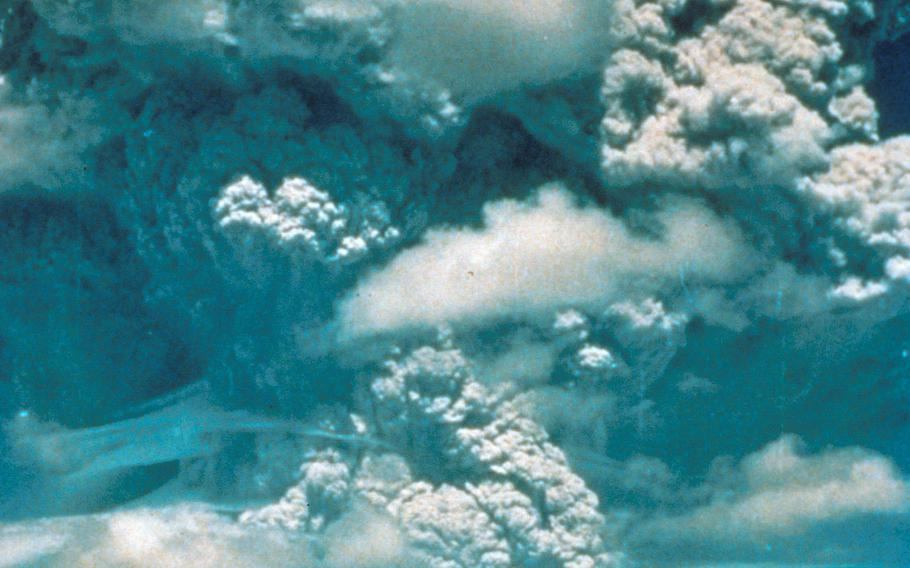 The eruption of Mount Pinatubo as seen from Clark Air Base, Philippines, in June 1991.
