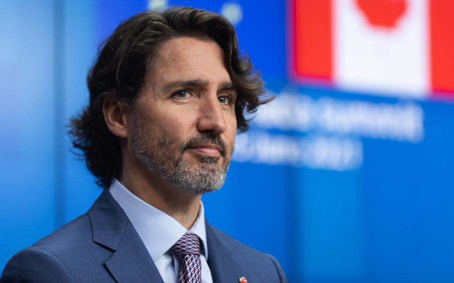 Justin Trudeau, Canada's prime minister, during a news conference in Brussels Thursday.