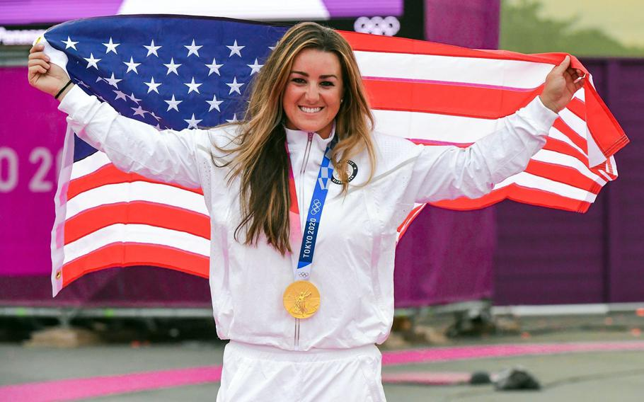 First Lt. Amber English won gold in women's shotgun skeet during the Tokyo Olympics, July 26, 2021. English, a logistics officer and member of the Army Marksmanship Unit, bested Diana Bacosi of Italy, the 2016 women's skeet gold medalist.