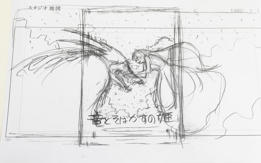 """A sketch of the movie poster """"Belle"""" at director Mamoru Hosoda's studio in Tokyo. The film will make its U.S. debut at the New York Film Festival on Sept. 25."""