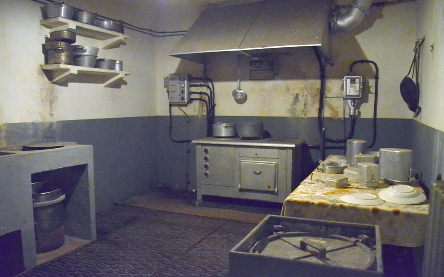 A kitchen in the Simserhof fortification, which was part of the Maginot Line in eastern France. French soldiers spent months in the underground tunnel facility during World War II.