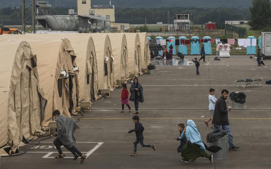 Afghan refugees live in temporary shelter at Ramstein Air Base on Monday, Aug. 30, 2021.