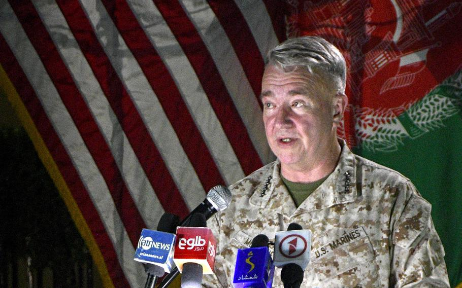 Marine Gen. Frank McKenzie, commander of U.S. Central Command, speaks to reporters at the former Resolute Support headquarters in Kabul, on July 25, 2021.