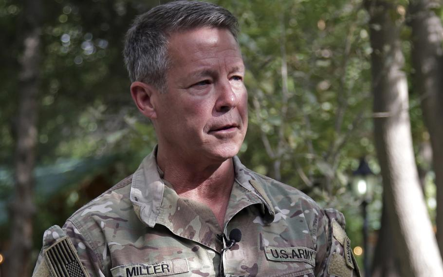 Army Gen. Austin S. Miller, the last general to command U.S. forces during the war in Afghanistan, speaks to journalists in Kabul, Afghanistan, on Tuesday, June 29, 2021.