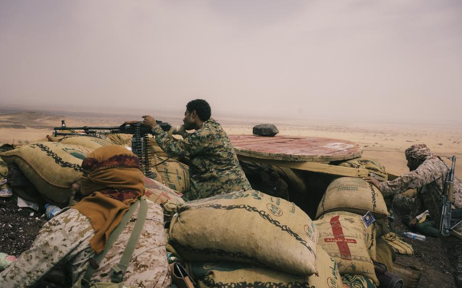 Soldiers exchange fire with Houthi rebels west of Marib on Aug. 15.